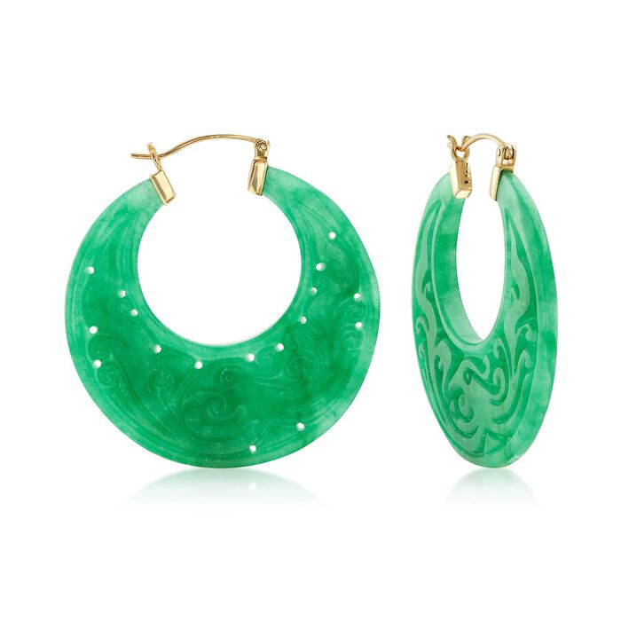 "Carved Green Jade Hoop Earrings With 14kt Yellow Gold. 1 1/2"", , default"