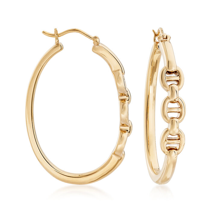 "14kt Yellow Gold Mariner-Link Hoop Earrings. 1 3/8"", , default"