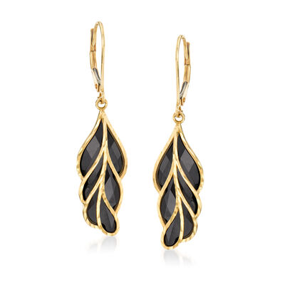 Black Onyx Feather Drop Earrings in 14kt Yellow Gold, , default