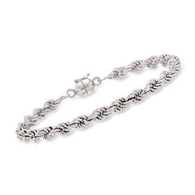 Textured Sterling Silver Rope Bracelet with Magnetic Clasp, , default
