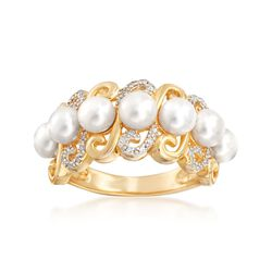4.5-5mm Cultured Pearl and .10 ct. t.w. Diamond Swirl-Edge Ring in 18kt Gold Over Sterling, , default