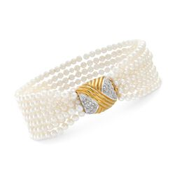 "C. 1980 Vintage 3mm Cultured Pearl and .15 ct. t.w. Diamond Bracelet in 14kt Yellow Gold. 7"", , default"