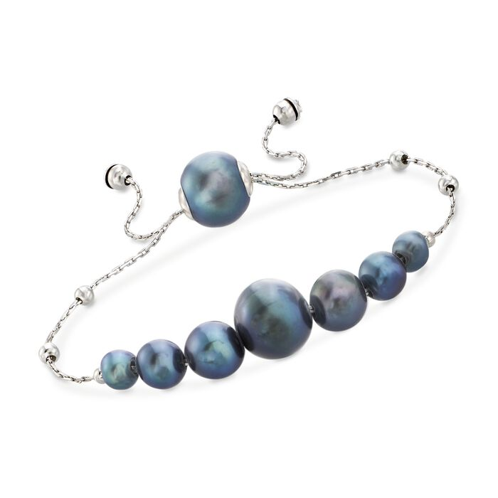 4-9.5mm Graduated Cultured Black Pearl and Sterling Silver Bolo Bracelet , , default