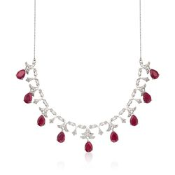 20.00 ct. t.w. Ruby and .28 ct. t.w. Diamond Necklace in Sterling Silver, , default