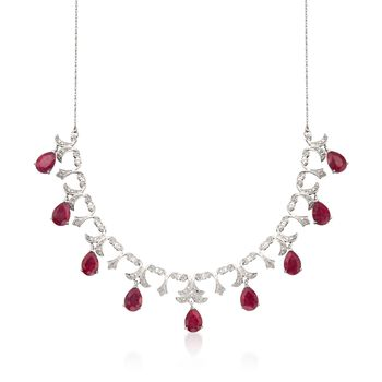 """20.00 ct. t.w. Ruby and .28 ct. t.w. Diamond Necklace in Sterling Silver. 18"""", , default"""