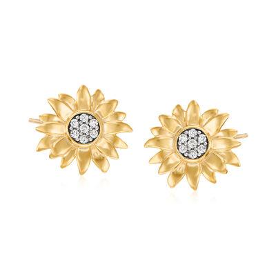 .20 ct. t.w. Diamond Sunflower Earrings in 18kt Gold Over Sterling