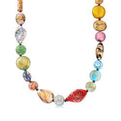 "Italian Multicolored Murano Glass Bead Necklace With 18kt Gold Over Sterling. 18"", , default"