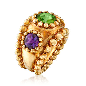 C. 1990 Vintage Chanel 2.00 Carat Peridot and 1.80 ct. t.w. Amethyst Ring in 18kt Yellow Gold. Size 5.5, , default