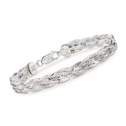 "Italian Sterling Silver Braided Bracelet. 8"", , default"