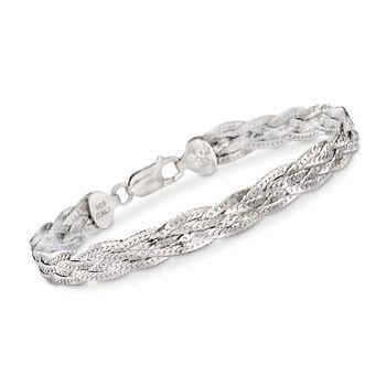 "Italian Sterling Silver Braided Bracelet. 8"", , default"