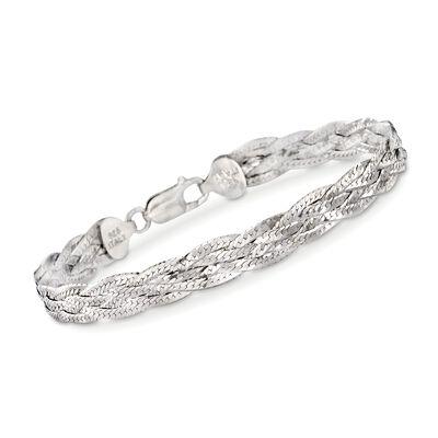 Italian Sterling Silver Braided Bracelet, , default
