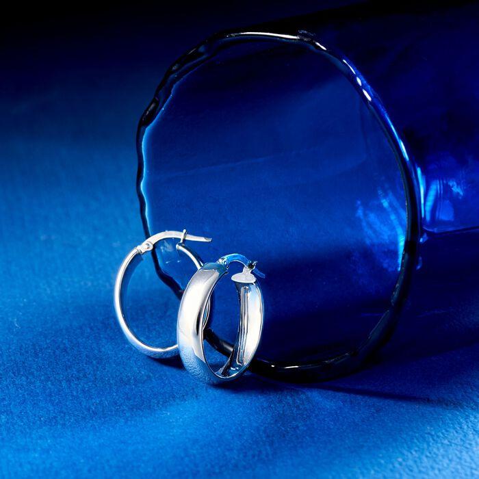 Italian 14kt White Gold Wide Oval Hoop Earrings