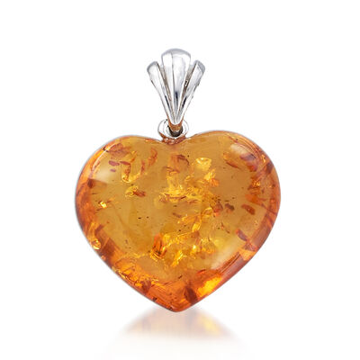 Amber Heart Pendant in Sterling Silver, , default