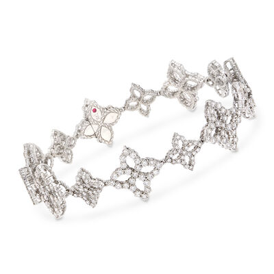 "Roberto Coin ""Princess"" 4.75 ct. t.w. Diamond Flower Bracelet in 18kt White Gold"