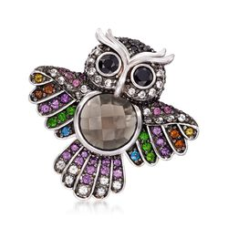 7.37 ct. t.w. Multi-Stone Owl Pin in Sterling Silver , , default