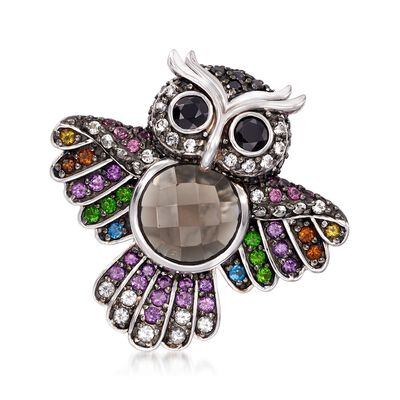 7.37 ct. t.w. Multi-Stone Owl Pin in Sterling Silver, , default