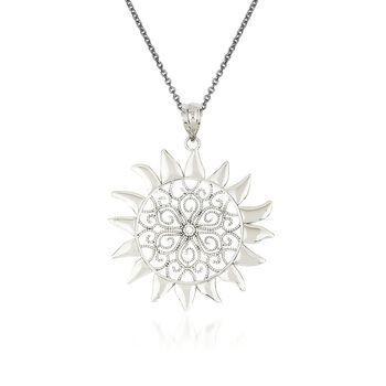 """14kt White Gold Sun Pendant Necklace. 18"""", , default"""