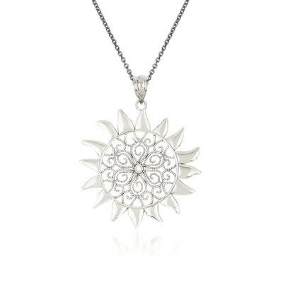 14kt White Gold Sun Pendant Necklace, , default