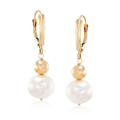 9.5-10mm Cultured Pearl Drop Earrings in 14kt Yellow Gold, , default