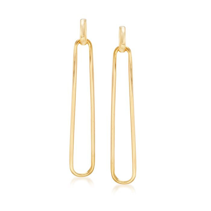 Italian 18kt Gold Over Sterling Elongated Oval-Link Drop Earrings, , default