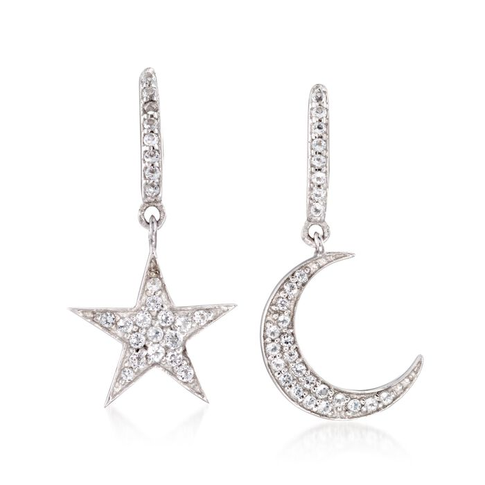 ".29 ct. t.w. White Topaz Star and Moon Mismatched Drop Earrings in Sterling Silver. 3/4"", , default"
