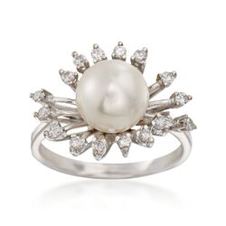 C. 1950 Vintage 8.7mm Cultured Pearl and .33 ct. t.w. Diamond Ring in 14kt White Gold. Size 7, , default