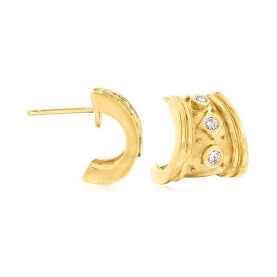C. 1980 Vintage .25 ct. t.w. Diamond Earrings in 18kt Yellow Gold