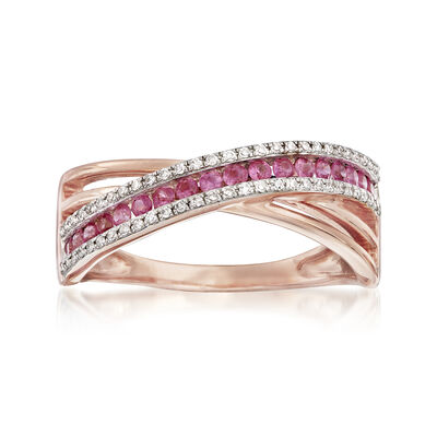 .30 ct. t.w. Pink Sapphire and .12 ct. t.w. Diamond Crisscross Ring in 14kt Rose Gold, , default