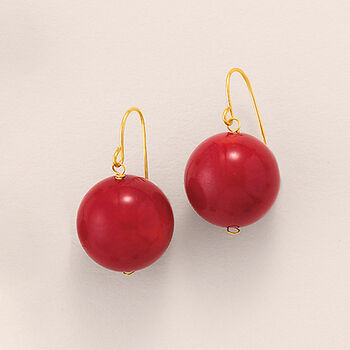 12mm Red Coral Bead Drop Earrings in 14kt Yellow Gold, , default