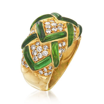 C. 1980 Vintage 1.80 ct. t.w. Green Tourmaline and .96 ct. t.w. Diamond Dome Ring in 18kt Yellow Gold. Size 6.5, , default
