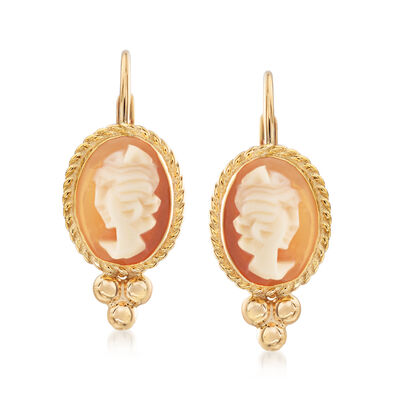 Bezel-Set Shell Cameo Drop Earrings in 14kt Yellow Gold, , default