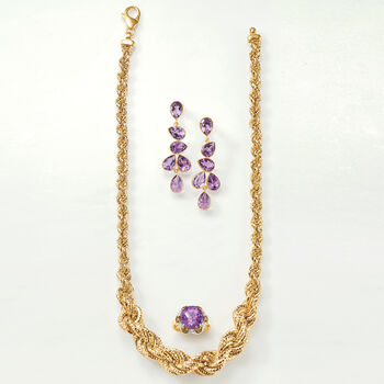 Italian 18kt Gold Over Sterling Graduated Twisted Rope Chain Necklace