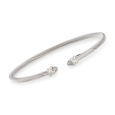 "Phillip Gavriel ""Italian Cable"" Sterling Silver Cuff Bracelet with Diamond Accents, , default"