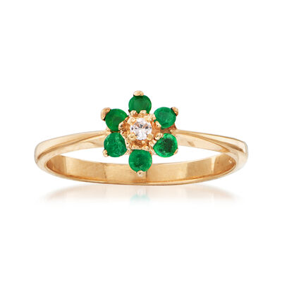 C. 1990 Vintage .25 ct. t.w. Emerald and Diamond-Accented Flower Ring in 14kt Yellow Gold, , default