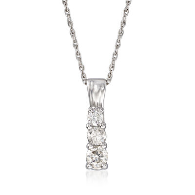 C. 1990 Vintage .25 ct. t.w. Diamond Drop Pendant Necklace in 10kt White Gold, , default