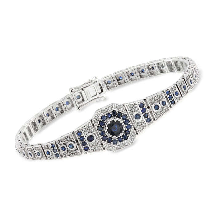 2.50 ct. t.w. Sapphire and .90 ct. t.w. Diamond Bracelet in Sterling Silver