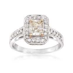 1.08 ct. t.w. Fancy Yellow and White Diamond Engagement Ring in 18kt Two-Tone Gold, , default