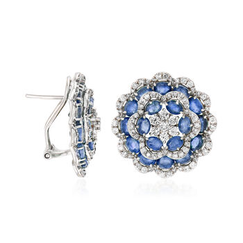 7.50 ct. t.w. Sapphire and 1.90 ct. t.w. Diamond Flower Earrings in 18kt White Gold, , default