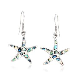 Abalone Starfish Drop Earrings in Sterling Silver , , default