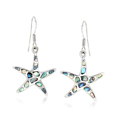 Abalone Shell Starfish Drop Earrings in Sterling Silver, , default