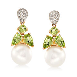 7.5-8mm Cultured Pearl and 1.10 ct. t.w. Peridot and Diamond Earrings in 14kt Yellow Gold, , default