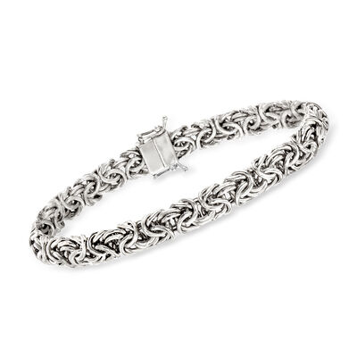 Sterling Silver Small Byzantine Bracelet with Magnetic Clasp, , default