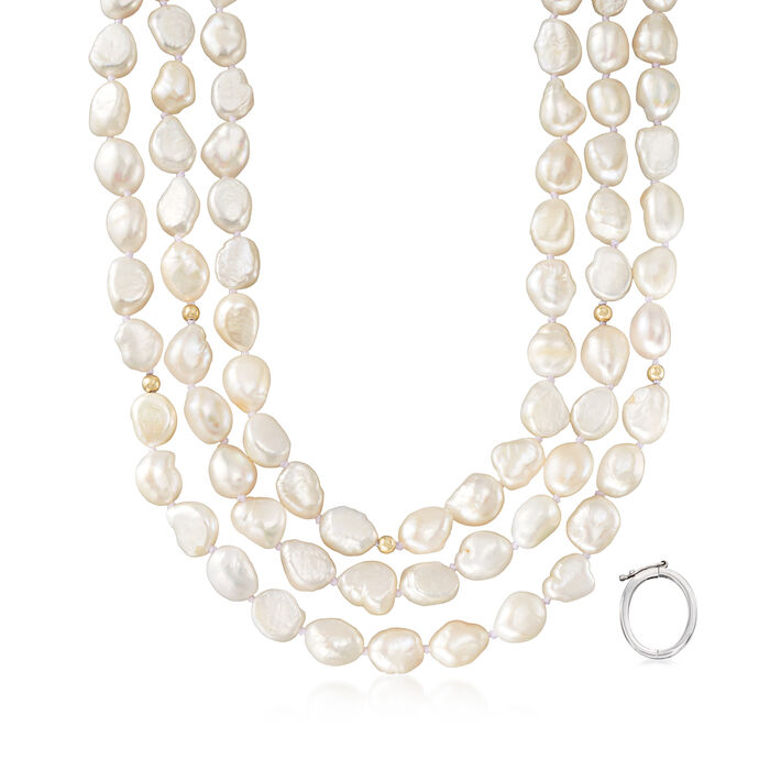 """9.5-10.5mm Cultured Baroque Pearl Long Necklace in 14kt Yellow Gold with Necklace Shortener. 64"""""""