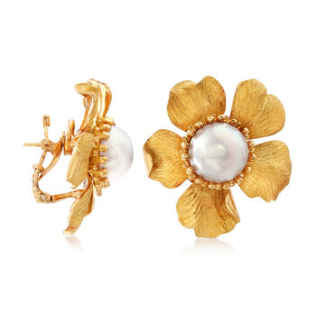 C. 1980 Vintage Tiffany Jewelry 13mm Mabe Pearl Flower Earrings in 14kt Yellow Gold