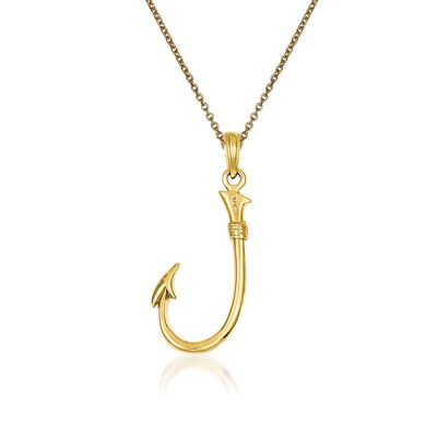 14kt Yellow Gold Fishing Hook Pendant Necklace, , default