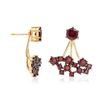 4.40 ct. t.w. Garnet Jewelry Set: Stud Earrings and Front-Back Jackets in 18kt Gold Over Sterling, , default