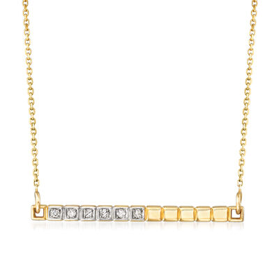 14kt Yellow Gold Bar Necklace with Diamond Accents