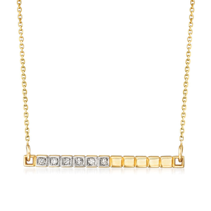 14kt Yellow Gold Bar Necklace with Diamond Accents. 18""