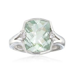 4.30 Carat Green Amethyst Ring With White Zircon Accents in Sterling Silver, , default