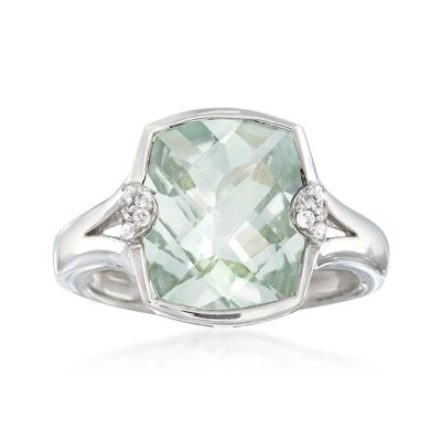4.30 Carat Green Prasiolite Ring with White Zircon Accents in Sterling Silver, , default